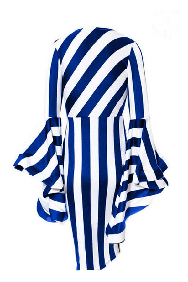 Lovely Trendy Trumpet Sleeves Striped Blue Knee Length Dress