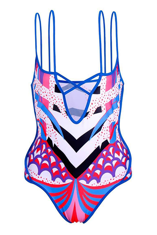 Lovely Sexy Hollowed-out Multicolor One-piece Swimwear (With Cover-up)