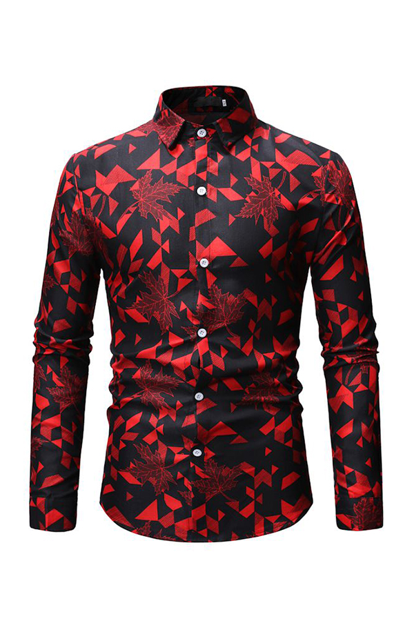 Lovely Casual Printed Red Cotton Shirts
