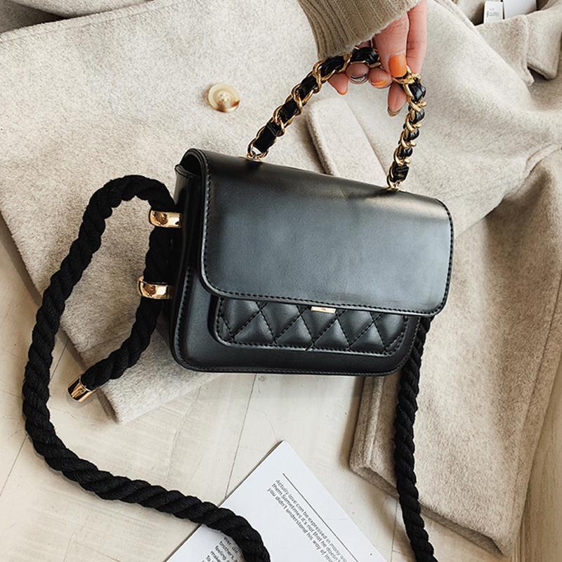 Lovely Fashion Grids Black PU Crossbody Bag