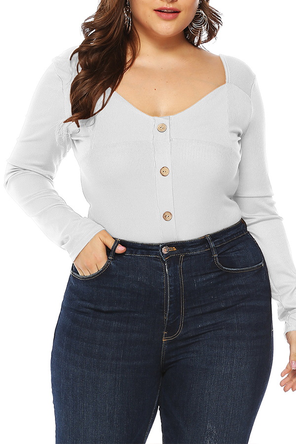Lovely Casual Buttons Decorative White Bodysuit
