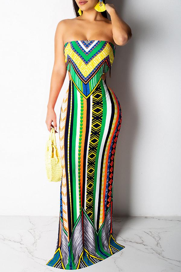 Lovely Sweet Hollowed-out Green Floor Length Dress