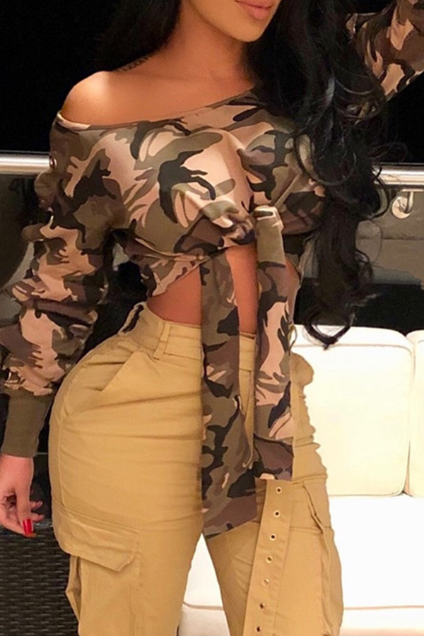 Lovely Casual  Camouflage Printed Blouses