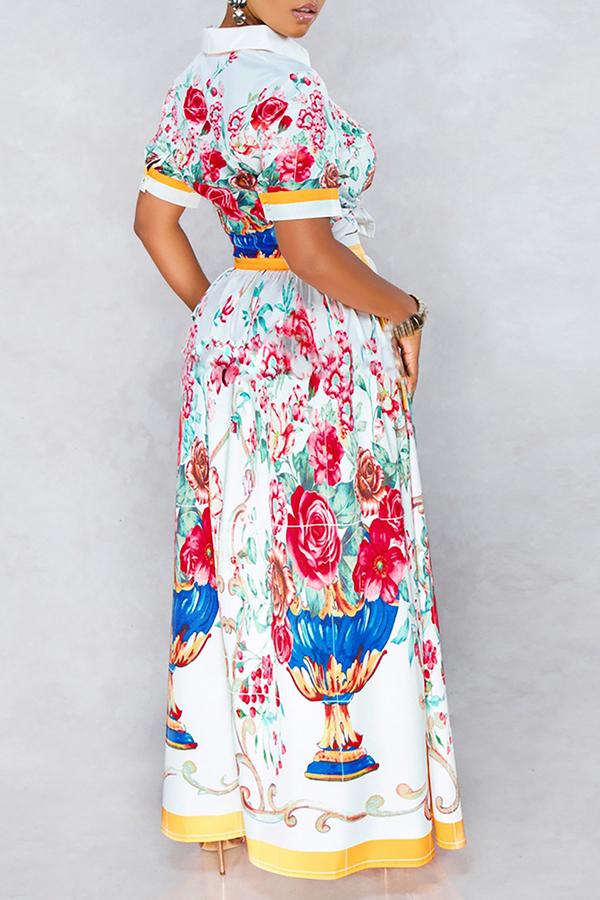 Lovely Elegant Floral Printed White Two-piece Skirt  Set