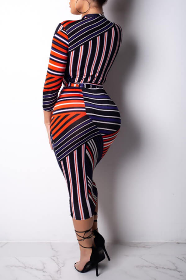 Lovely Work Striped Printed Multicolor Mid Calf Dress
