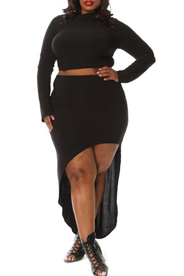 Lovely Trendy Asymmetrical Black Two-piece Skirt Set