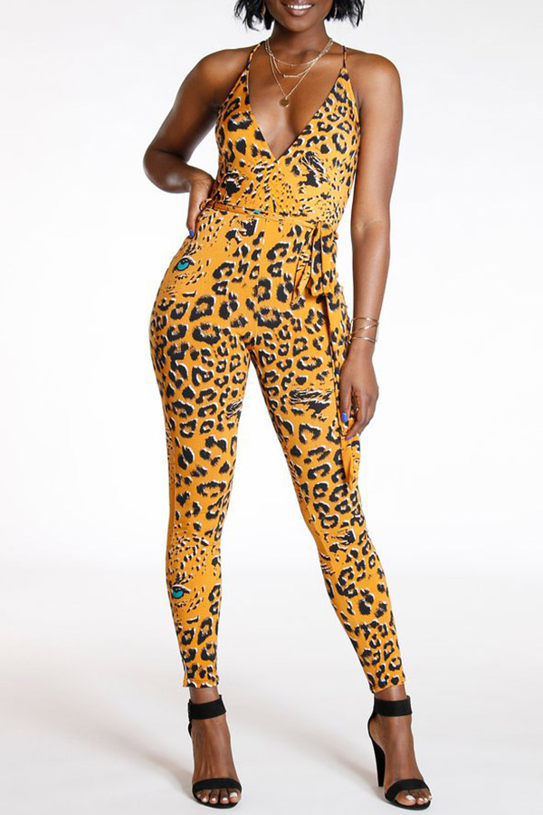 Lovely Sexy Leopard Printed Yellow One-piece Jumpsuit