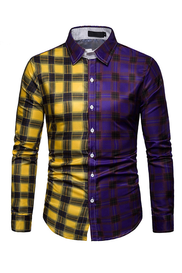 Lovely Casual Patchwork Purple Shirt