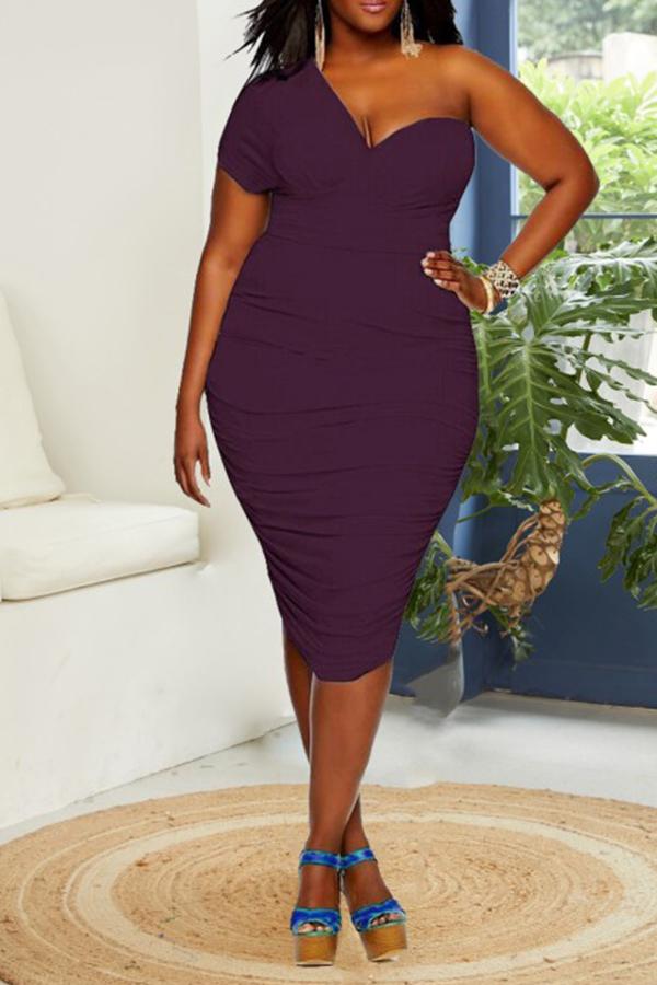 Lovely Chic One Shoulder Purple Knee Length Dress