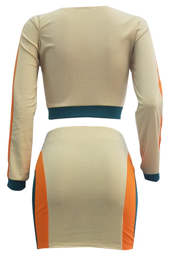 Lovely Euramerican  Patchwork Khaki Twilled Satin Two-piece Skirt Set