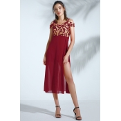 Lovely Trendy Dew Shoulder  Wine Red Chiffon Mid C