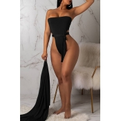 Lovely Sexy Lace-up Black One-piece Swimwears (Wit