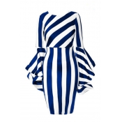 Lovely Trendy Trumpet Sleeves Striped Blue Knee Le