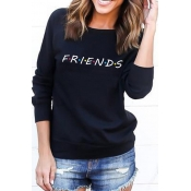 Lovely Casual Printed Loose Black Cotton Sweatshir