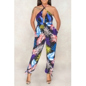 Lovely Sweet Backless Dark Blue One-piece Jumpsuit