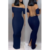Lovely Trendy Backless Dark Blue Ankle Length Dress