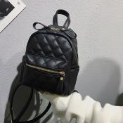 Lovely Fashion Grids Black PU Backpacks