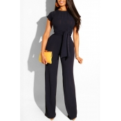 Lovely Trendy Knot Design Black Two-piece Pants Se