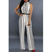 Lovely Temperament Printed Loose White One-piece J