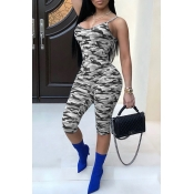 Lovely Sexy Camouflage Printed Grey One-piece Rompers