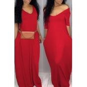 Lovely Casual Pockets Design Bright Red Blending Floor Length Dress