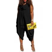 Lovely Trendy Loose Plus Size  Black One-piece Jumpsuit
