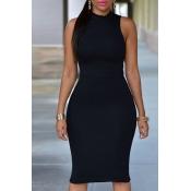 Lovely Work Tank Sleeveless Black Knee Length Dres