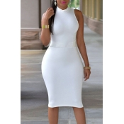 Lovely Work Tank Sleeveless White Knee Length Dres