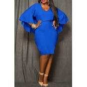 Lovely Work Cloak Design Blue  Knee Length Dress