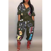 Lovely Casual Printed Green One-piece Jumpsuit
