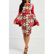 Lovely Trendy  Trumpet Sleeves Red Twilled Satin K