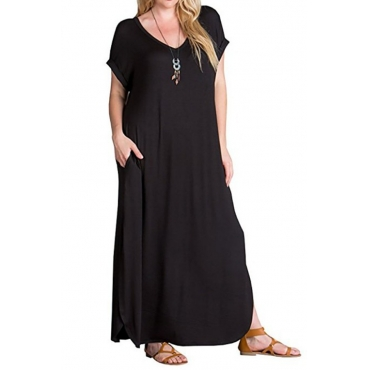 Lovely Casual Loose Black Cotton Ankle Length Dress