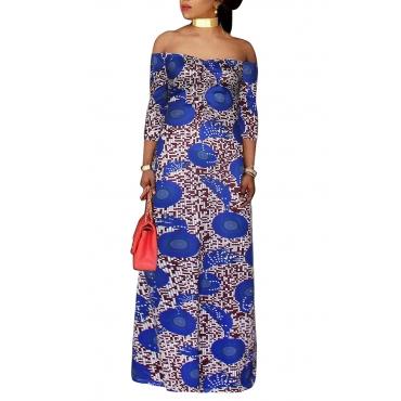 Lovely Trendy Dew Shoulder Blue Floor length Dress