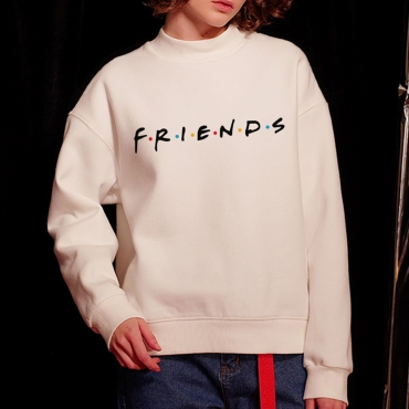 Lovely Casual Printed Loose White Cotton Sweatshirt