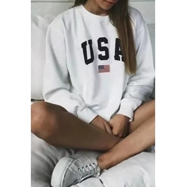 Lovely Casual Letters Printed White Cotton Sweatshirt