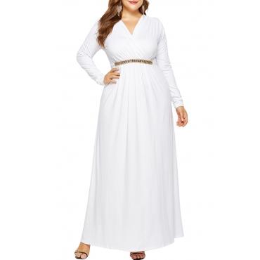 Lovely Casual  Long Sleeve Loose White Floor Length Dress