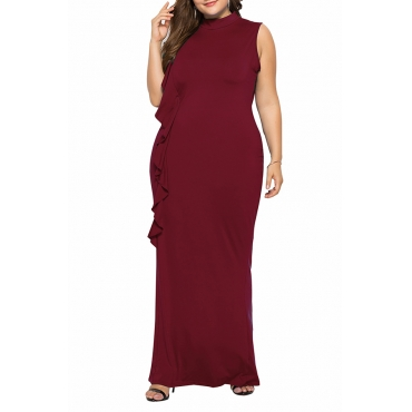 Lovely Casual Patchwork Wine Red Floor Length Dress