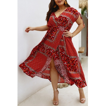Lovely Bohemian Printed Wine Red Ankle Length Dress