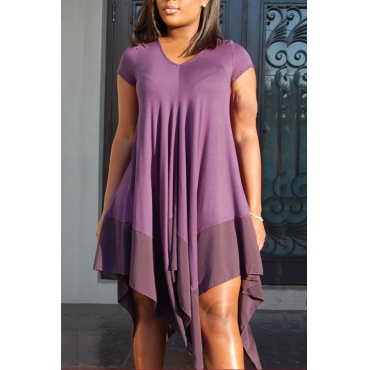 Lovely Casual  Asymmetrical Purple Knee Length Dress