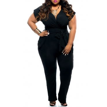 Lovely Casual Lack-up Black One-piece Jumpsuit