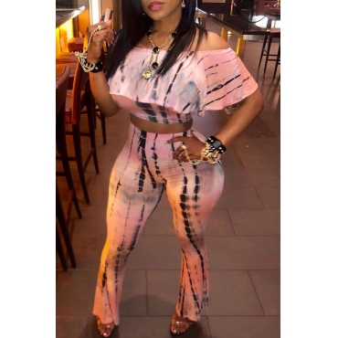 Lovely Sweet Dew Shoulder Pink Two-piece Pants Set