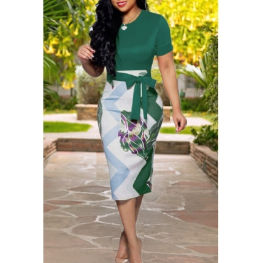 Lovely Work Lace-up Blackish Green Knee Length  Dress