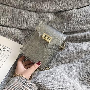 Lovely Casual Sheer Silver PVC Crossbody Bag