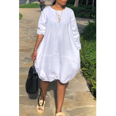 Lovely Casual Long Sleeves Loose White Knee Length Dress