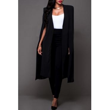 Lovely Casual Sleeveless Cloak Design Black Coat