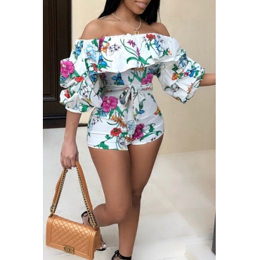 Lovely Sweet Floral Printed White One-piece Romper