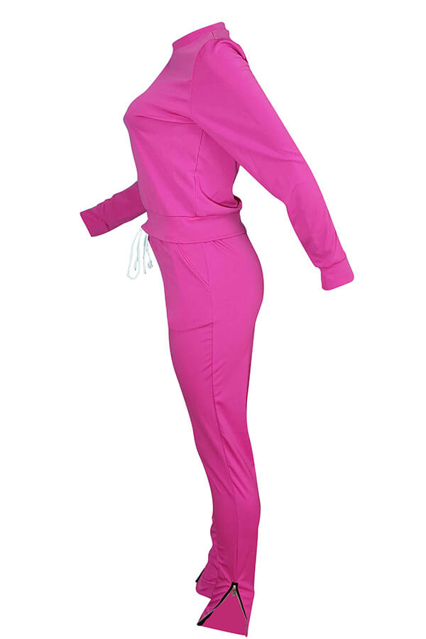 Lovely Euramerican Zipper Design Pink Blending Two-piece Pants Set