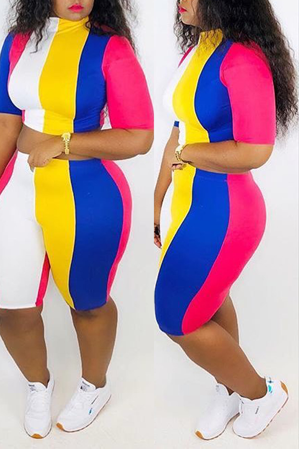 Lovely Trendy Striped Multicolor Two-piece Shorts Set