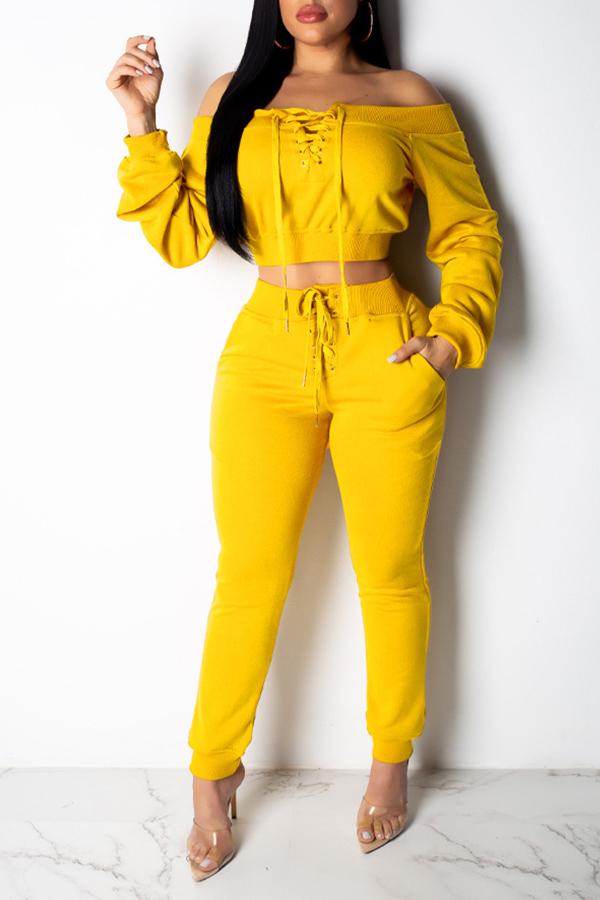 Lovely Work Drawstring Yellow Two-piece Pants Set