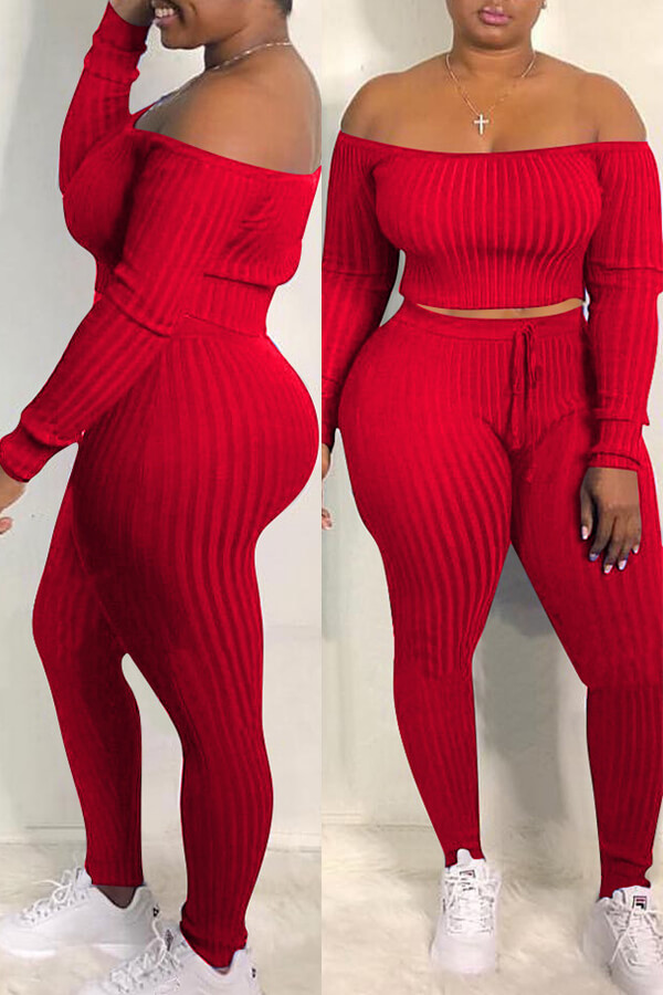 Two Pieces Lovely Casual Dew Shoulder Red Blending Two-piece Pants Set